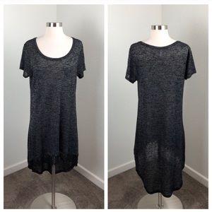 Xhilaration charcoal gray high low lace dress